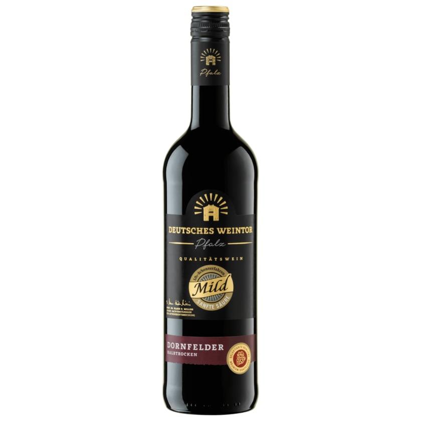 Deutsches Weintor Rotwein Mild Dornfelder QbA halbtrocken 0,75l