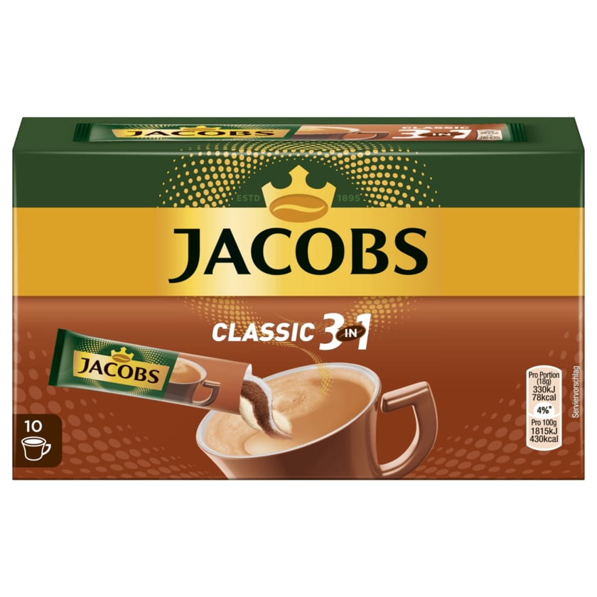 Jacobs Kaffeespezialitäten 3 in 1, 10 Sticks mit Instant Kaffee