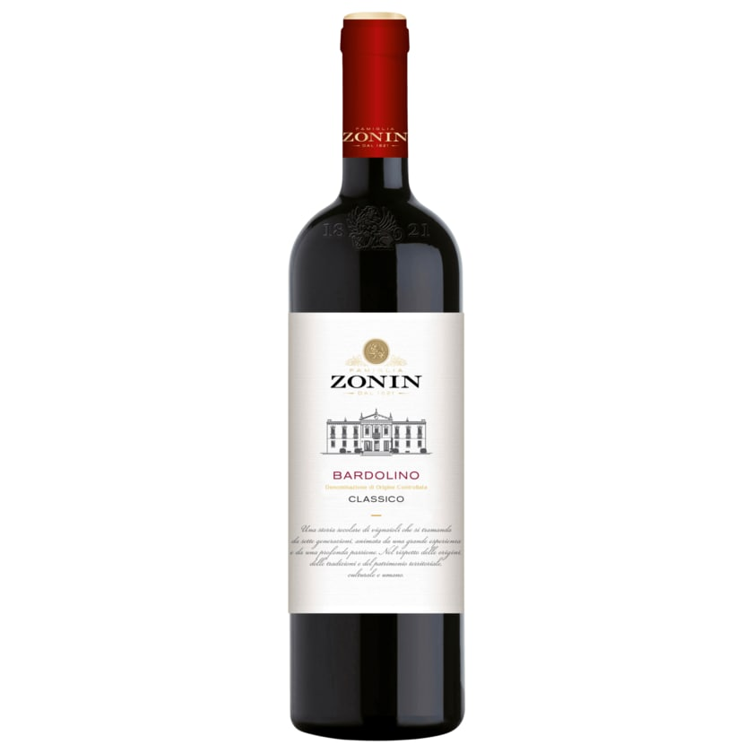 Zonin Rotwein Bardolino Classico trocken 0,75l