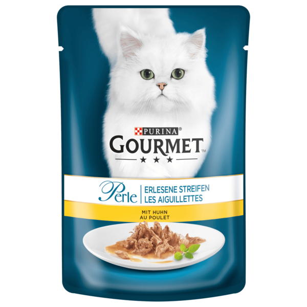 Gourmet Katzenfutter Perle Erlesene Streifen mit Huhn 85g