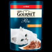 Gourmet Katzenfutter Perle Erlesene Streifen mit Rind 85g