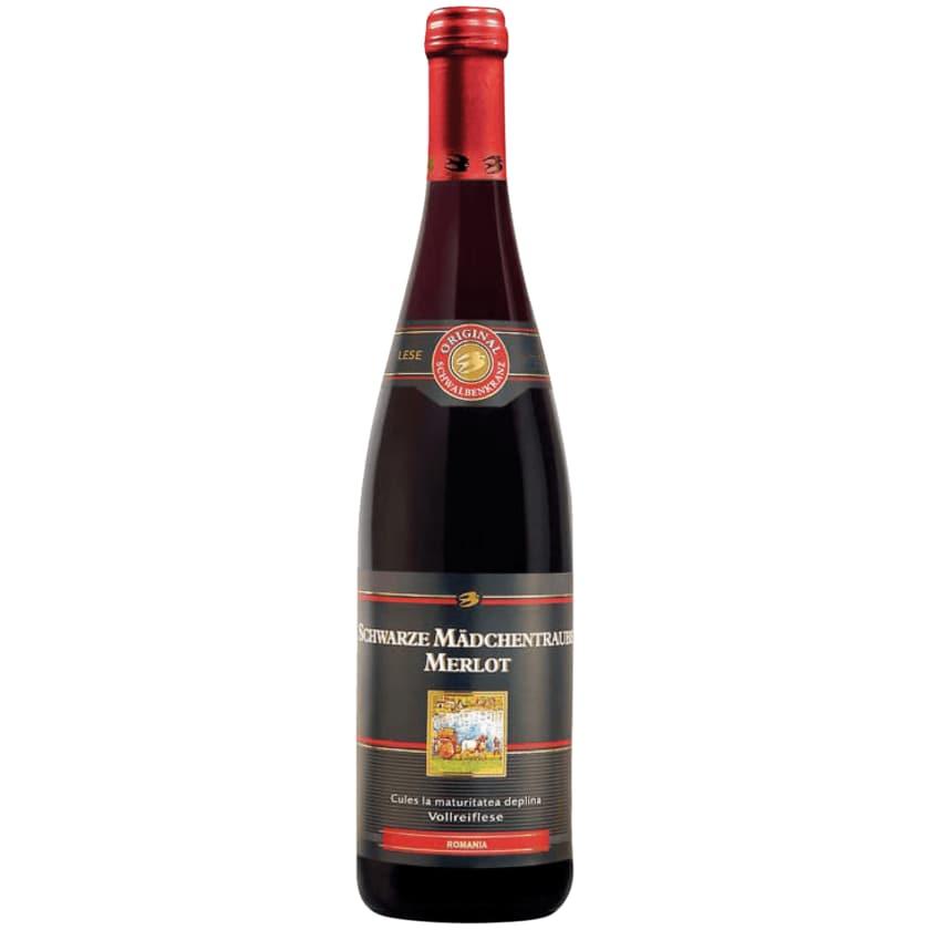 Schwalbenkranz Rotwein Schwarze Mädchentraube Merlot lieblich 0,75l