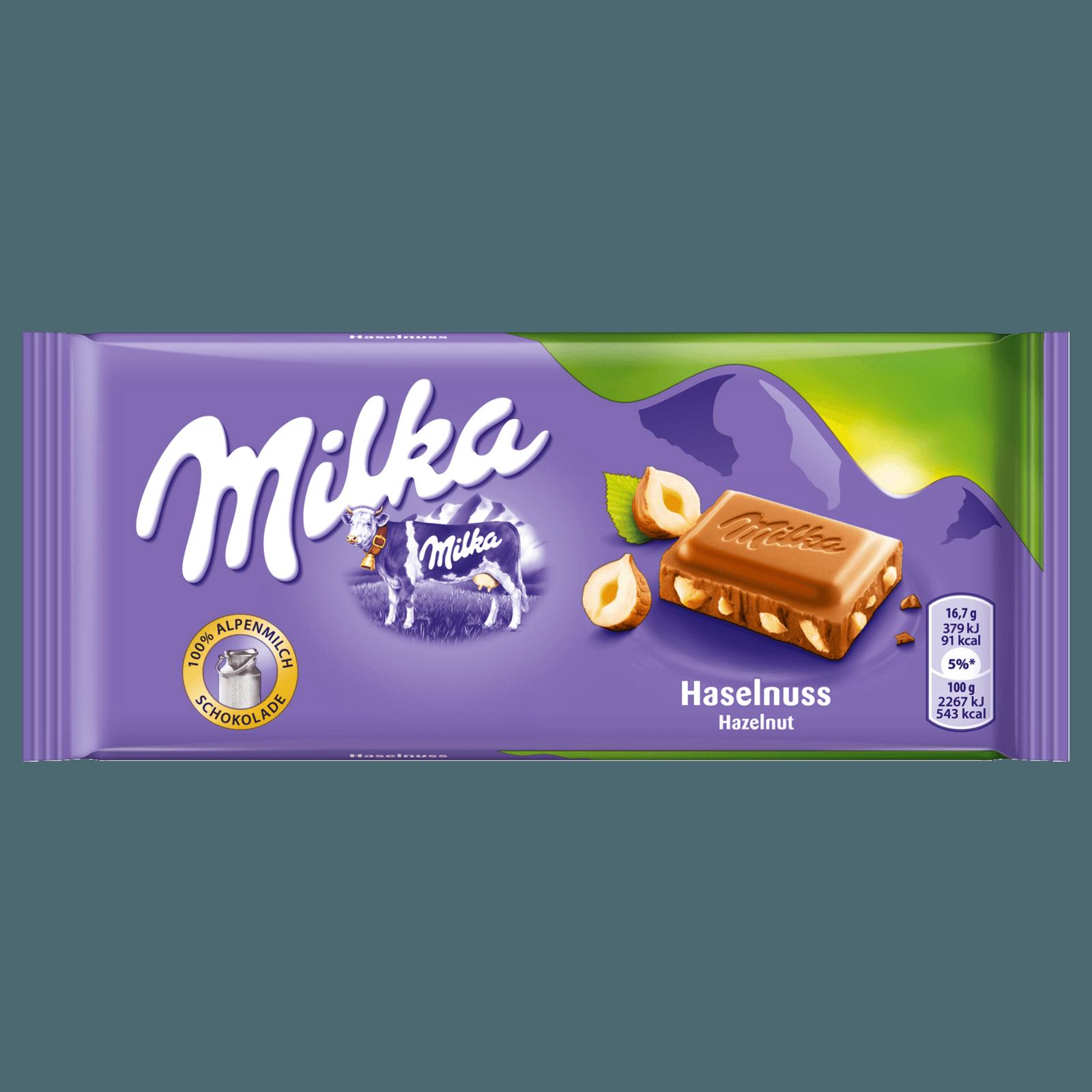 MILKA SCHOKO TAFEL MILCH MIT HASELNUSS