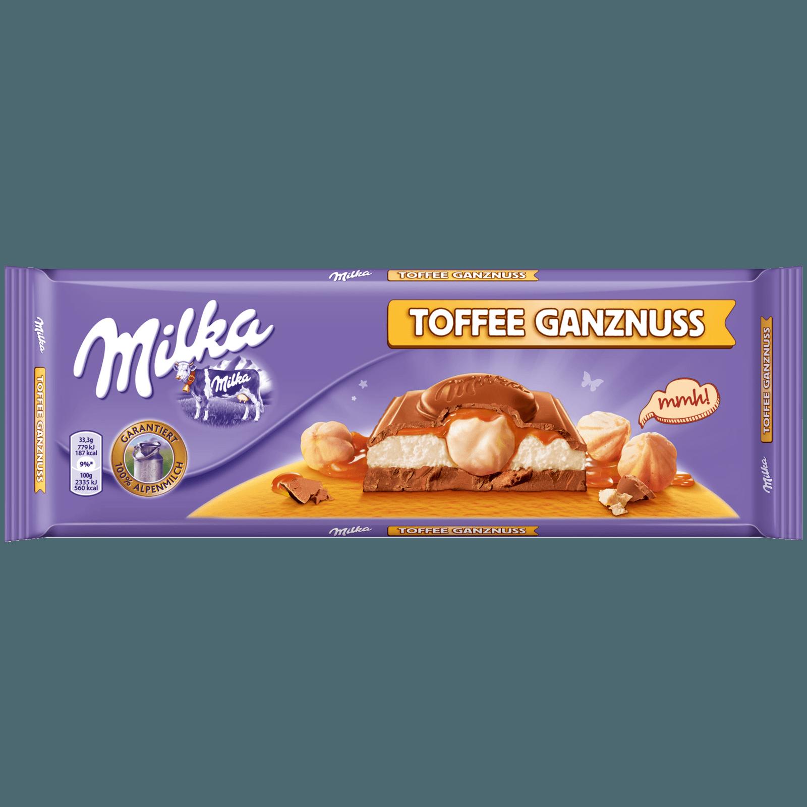 MILKA SCHOKO TAFEL MILCH MIT HASELNUSS UND TOFFEE