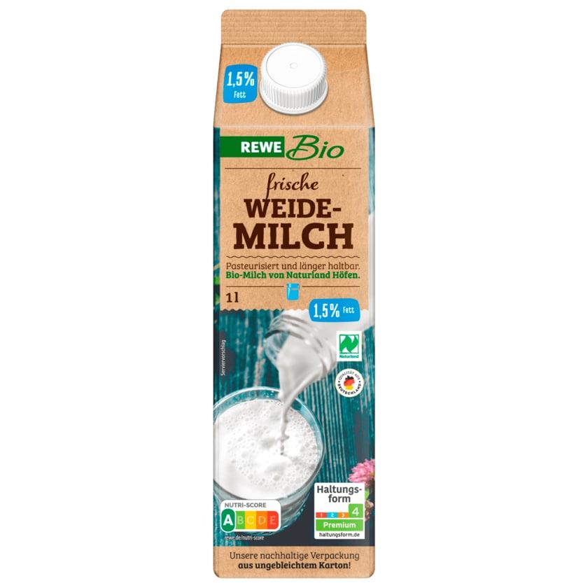 REWE Bio frische fettarme 1,5% Milch 1l