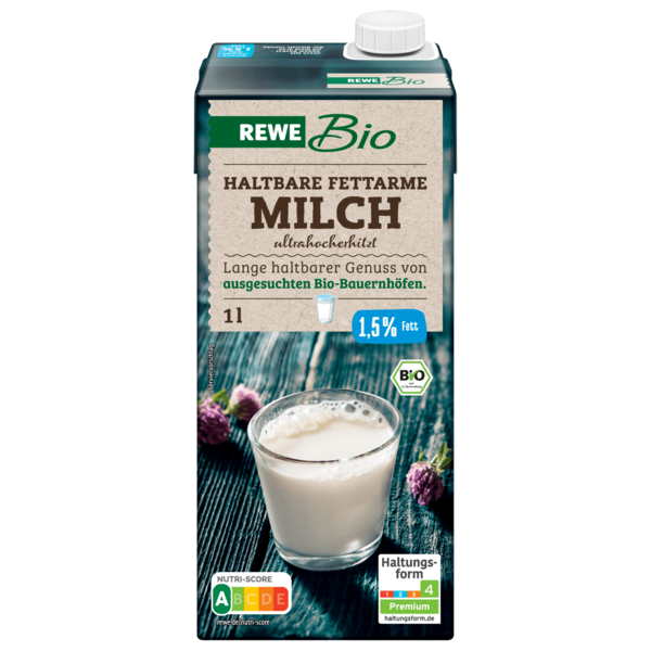 rewe bio fettarme h milch 1 5 1l bei rewe online bestellen. Black Bedroom Furniture Sets. Home Design Ideas