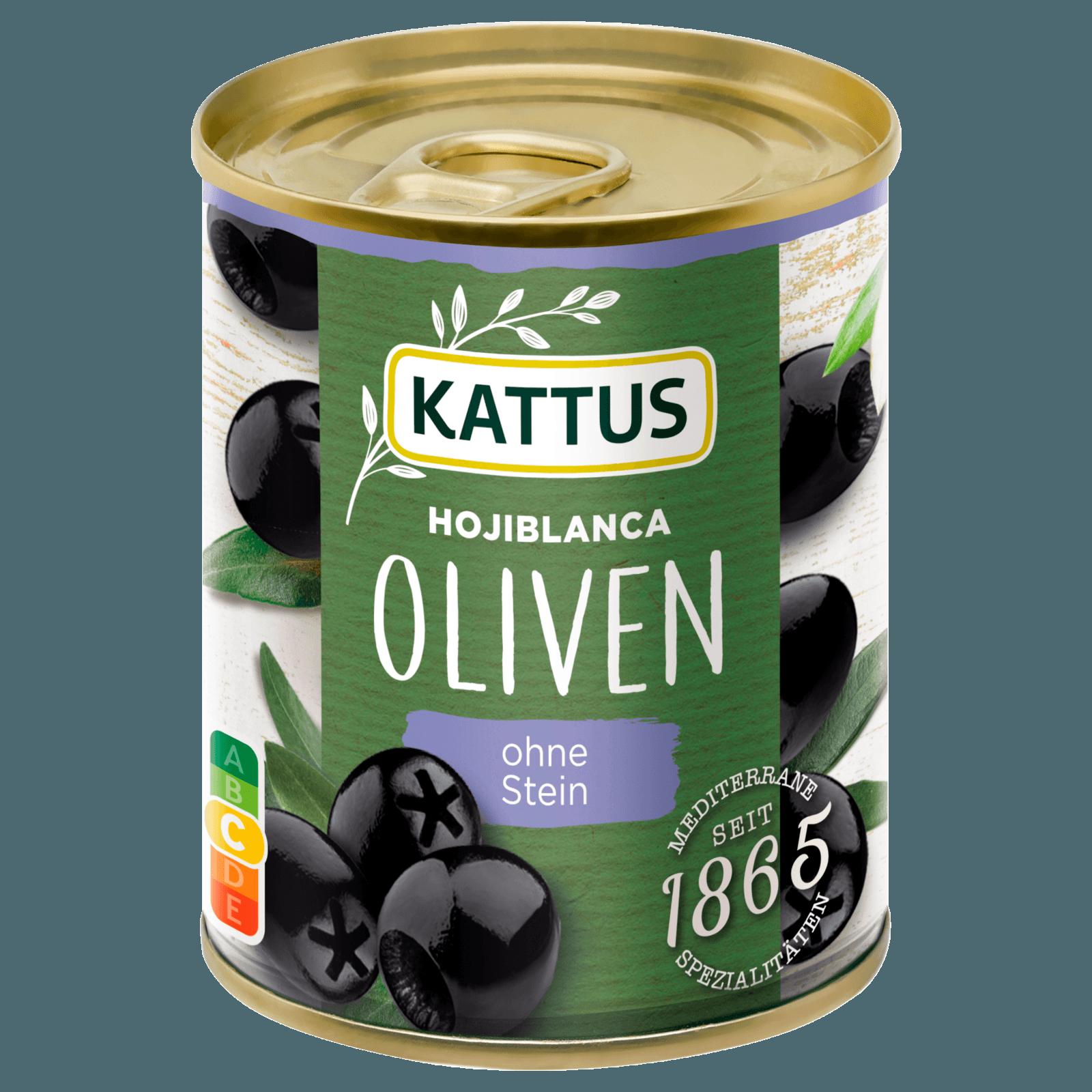 Kattus Spanische schwarze Oliven entsteint 80g