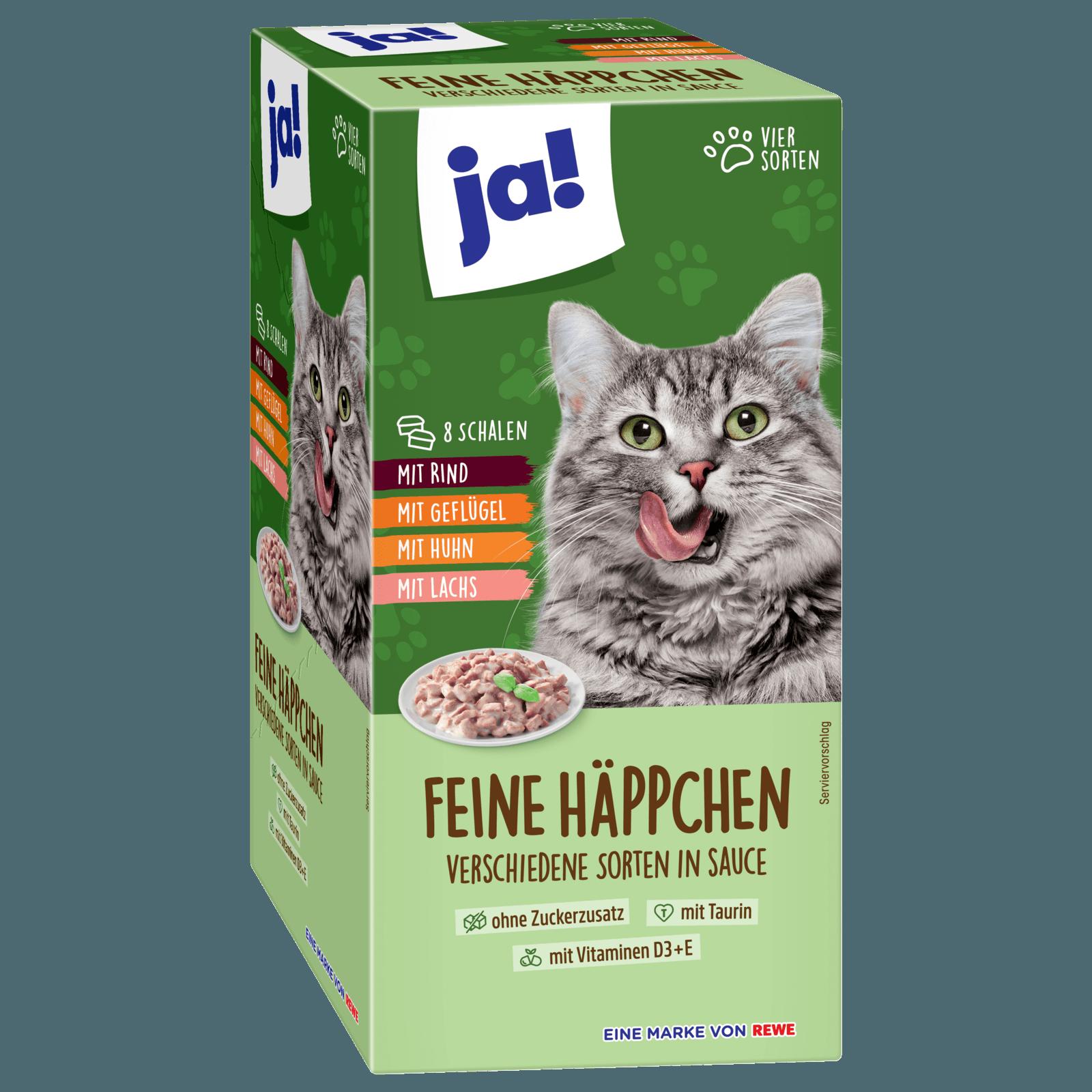 ja! Katzenfutter Feine Häppchen in Sauce 8x100g