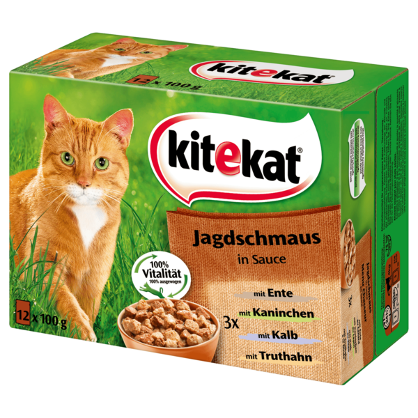 kitekat katzenfutter jagdschmaus in sauce 12x100g bei rewe online bestellen. Black Bedroom Furniture Sets. Home Design Ideas