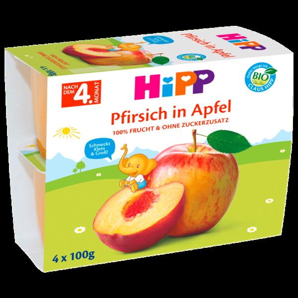 Hipp Frucht-Pause Bio Pfirsich in Apfel 4x100g