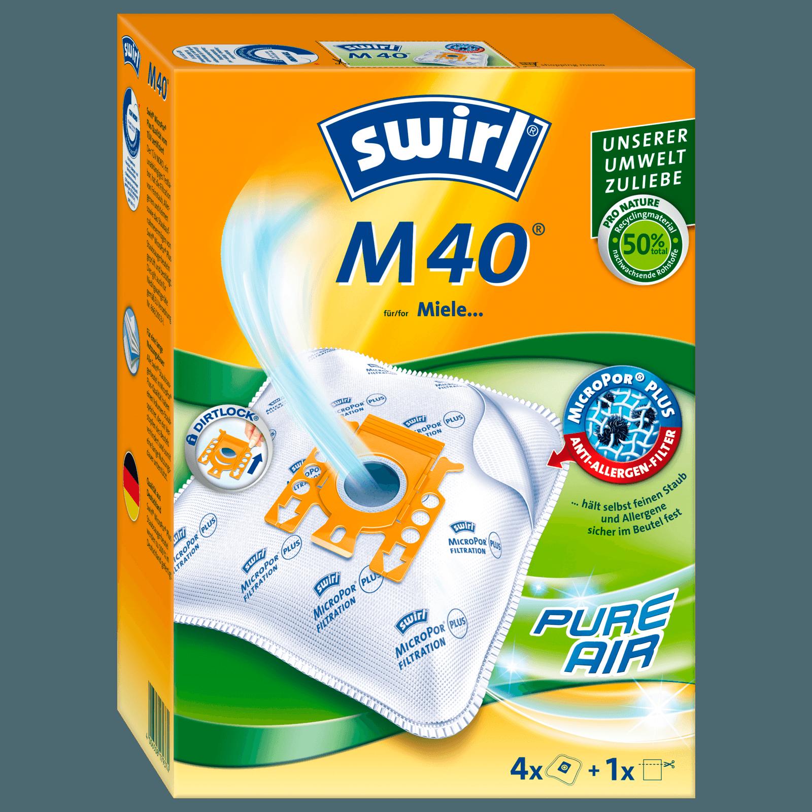 Swirl Staubsaugerbeutel M 40 MicroPor Plus 4 Stück