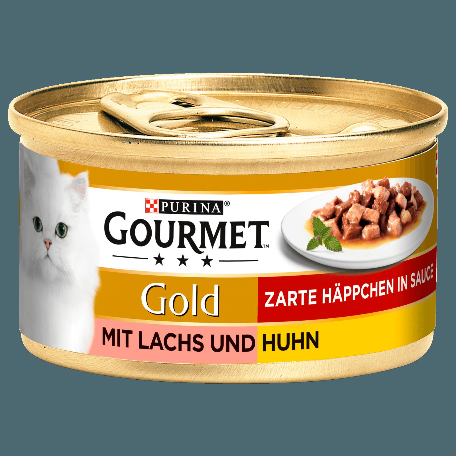 Gourmet Katzenfutter Gold Zarte Häppchen in Sauce mit Lachs & Huhn 85g