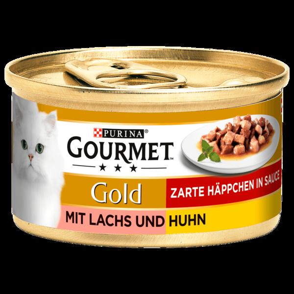 Gourmet Gold Zarte Häppchen in Sauce mit Lachs & Huhn 85g