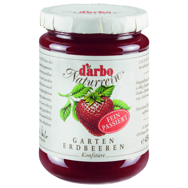 D'arbo Naturrein Erdbeere fein passiert 450g