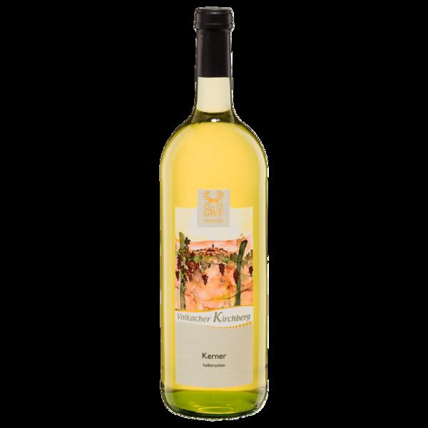 Volkacher Kirchberg Weißwein Kerner Qualitätswein halbtrocken 1l
