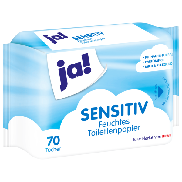 ja! Feuchtes Toilettenpapier sensitiv 70 Stück