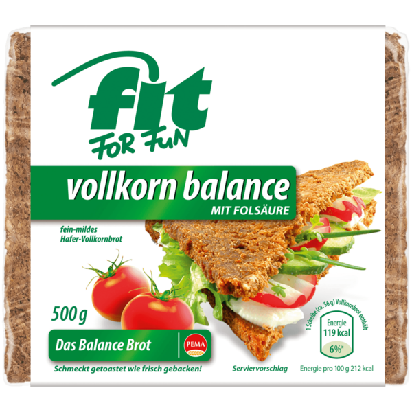 Pema Fit for Fun Vollkorn Balance Hafer-Vollkornbrot 500g