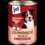 ja! Hundefutter Schlemmermahlzeit mit fünf leckeren Sorten 400g