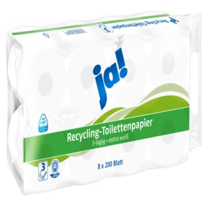ja! Recycling-Toilettenpapier 3-lagig 8x200 Blatt