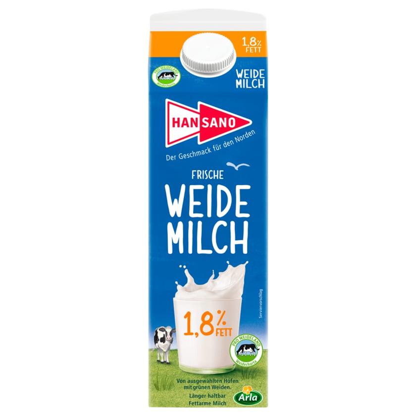 Hansano Frische Weidemilch 1,8% 1l