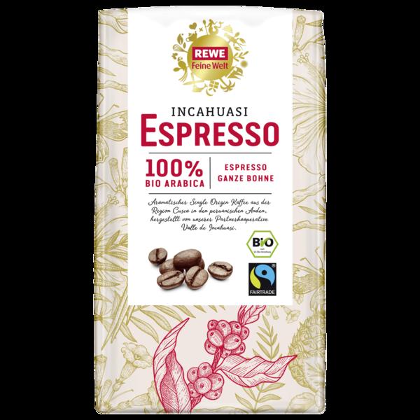 REWE Feine Welt Bio Incahuasi-Espresso ganze Bohne 1kg