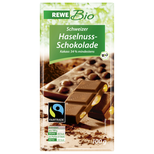 rewe bio schweizer haselnuss schokolade 100g bei rewe. Black Bedroom Furniture Sets. Home Design Ideas