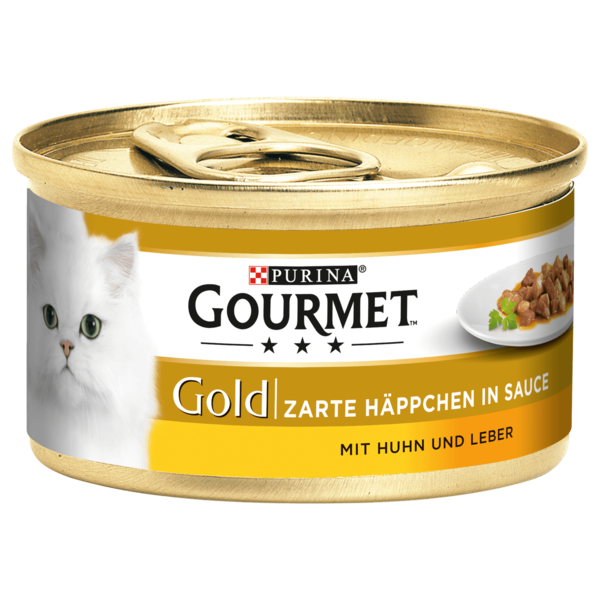 Gourmet Gold Zarte Häppchen in Sauce mit Huhn & Leber 85g