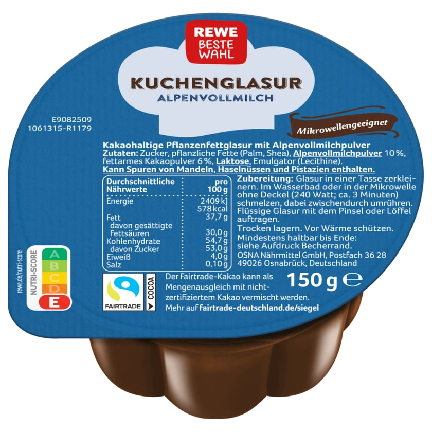 REWE Beste Wahl Kuchenglasur Vollmilch 150g