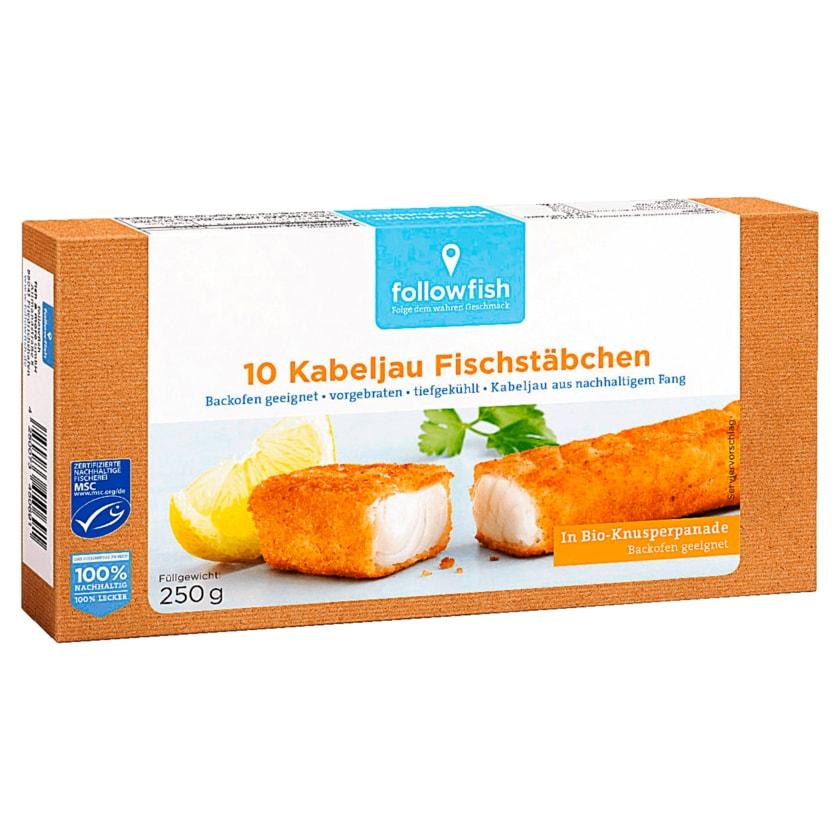 Followfish MSC Kabeljau Fischstäbchen 250g, 10 Stück