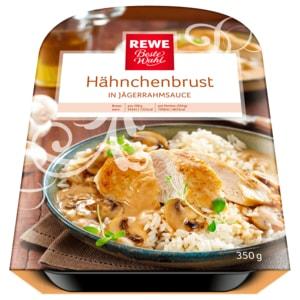 REWE Beste Wahl Hähnchenbrust in Jägerrahmsauce mit Reis 350g