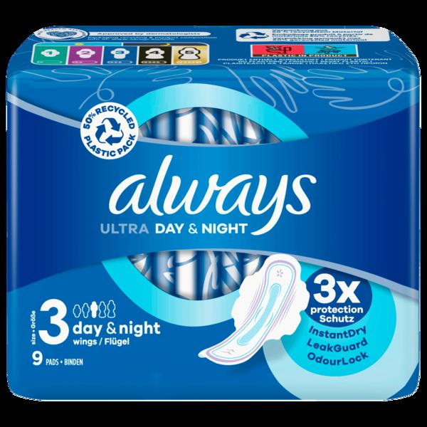 Always Ultra Damenbinden Night mit Flügeln 9 Stück