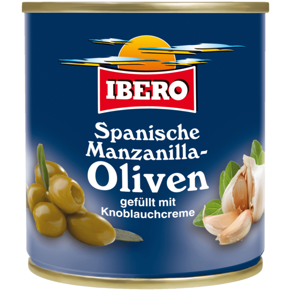 Ibero Manzanilla-Oliven mit Knoblauchcreme 85g