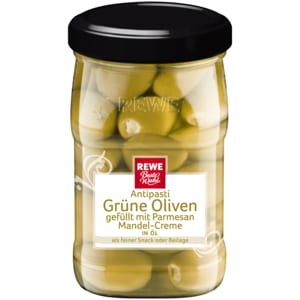REWE Beste Wahl Grüne Oliven gefüllt mit Parmesan-Mandel-Creme 160g