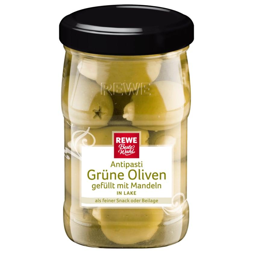 REWE Beste Wahl Grüne Oliven gefüllt mit Mandeln 160g