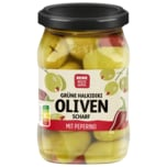 REWE Beste Wahl Grüne Oliven gefüllt mit Chili 150g