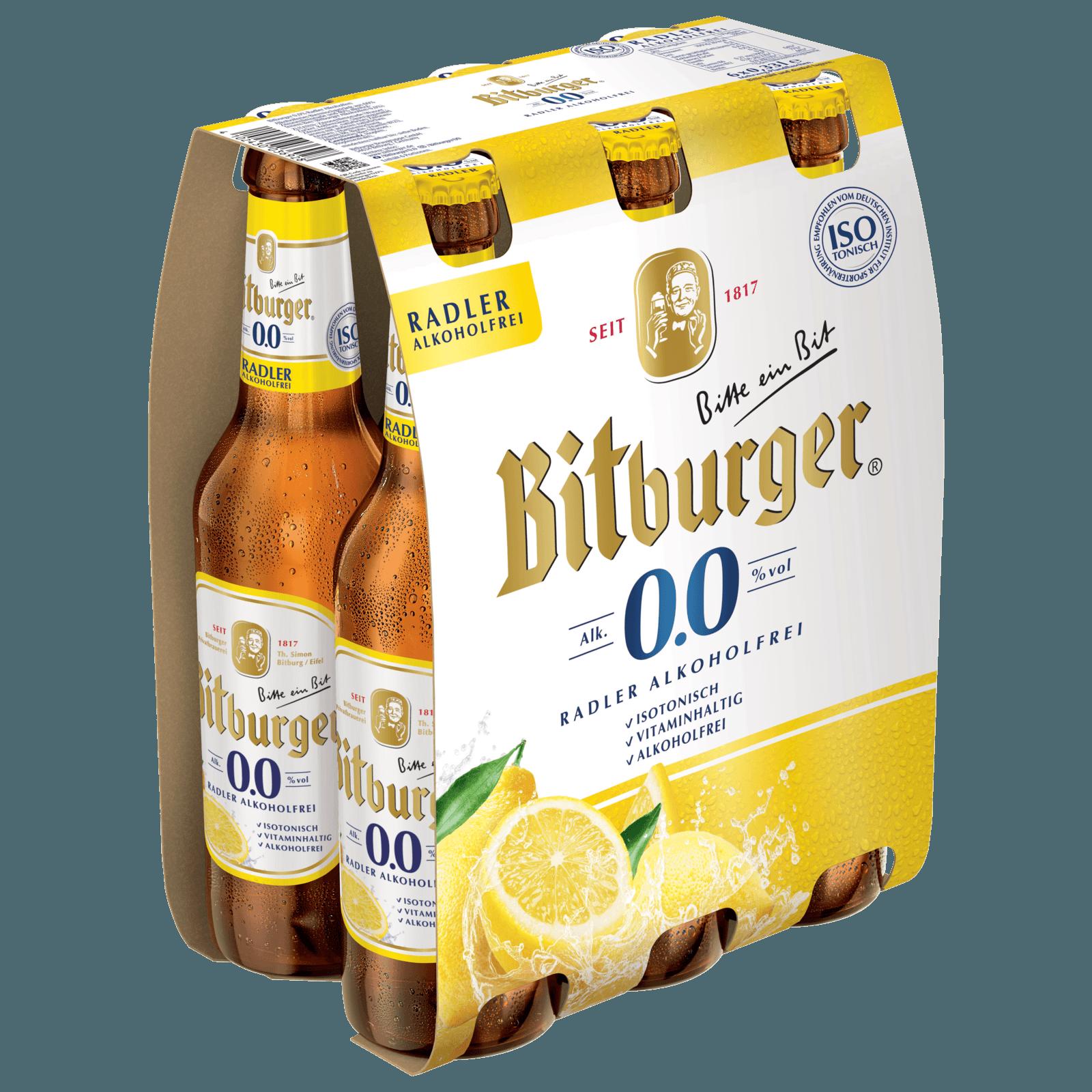 Bitburger 0,0% Radler Alkoholfrei 6x0,33l