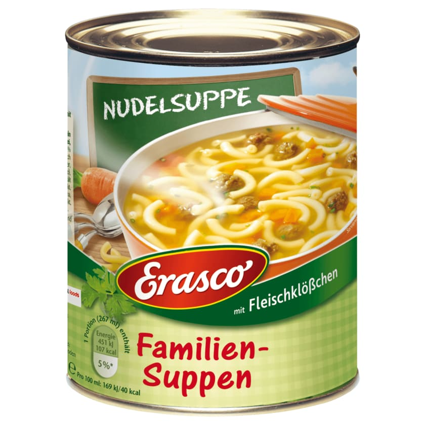 Erasco Familien-Suppen Nudelsuppe mit Fleischklößchen 800g