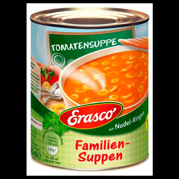 Erasco Familien-Suppen Tomatensuppe mit Nudel-Ringen 800g
