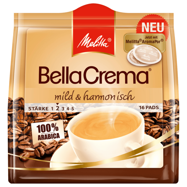Melitta BellaCrema mild & aromatisch 107g, 16 Pads