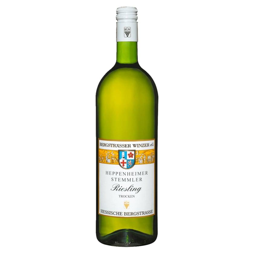 Heppenheimer Stemmler Weißwein Riesling QbA trocken 1l
