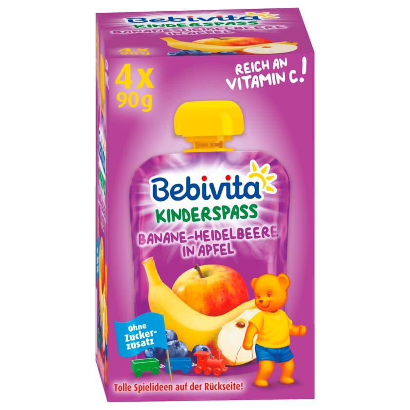 Bebivita Kinder-Spaß Banane-Heidelbeere in Apfel 4x90g