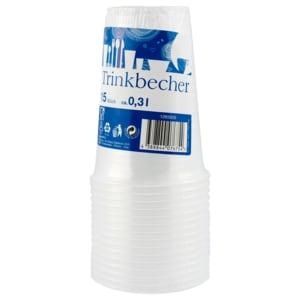 Plastikbecher durchsichtig 0,3l 15 Stück