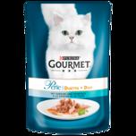 Gourmet Katzenfutter Perle Erlesene Streifen mit Sardine & Thunfisch 85g