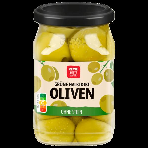 REWE Beste Wahl Grüne Oliven ohne Stein 135g