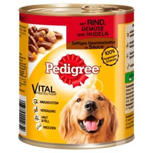 Pedigree Hundefutter Saftiges Geschnetzeltes mit Rind, Gemüse & Nudeln 800g