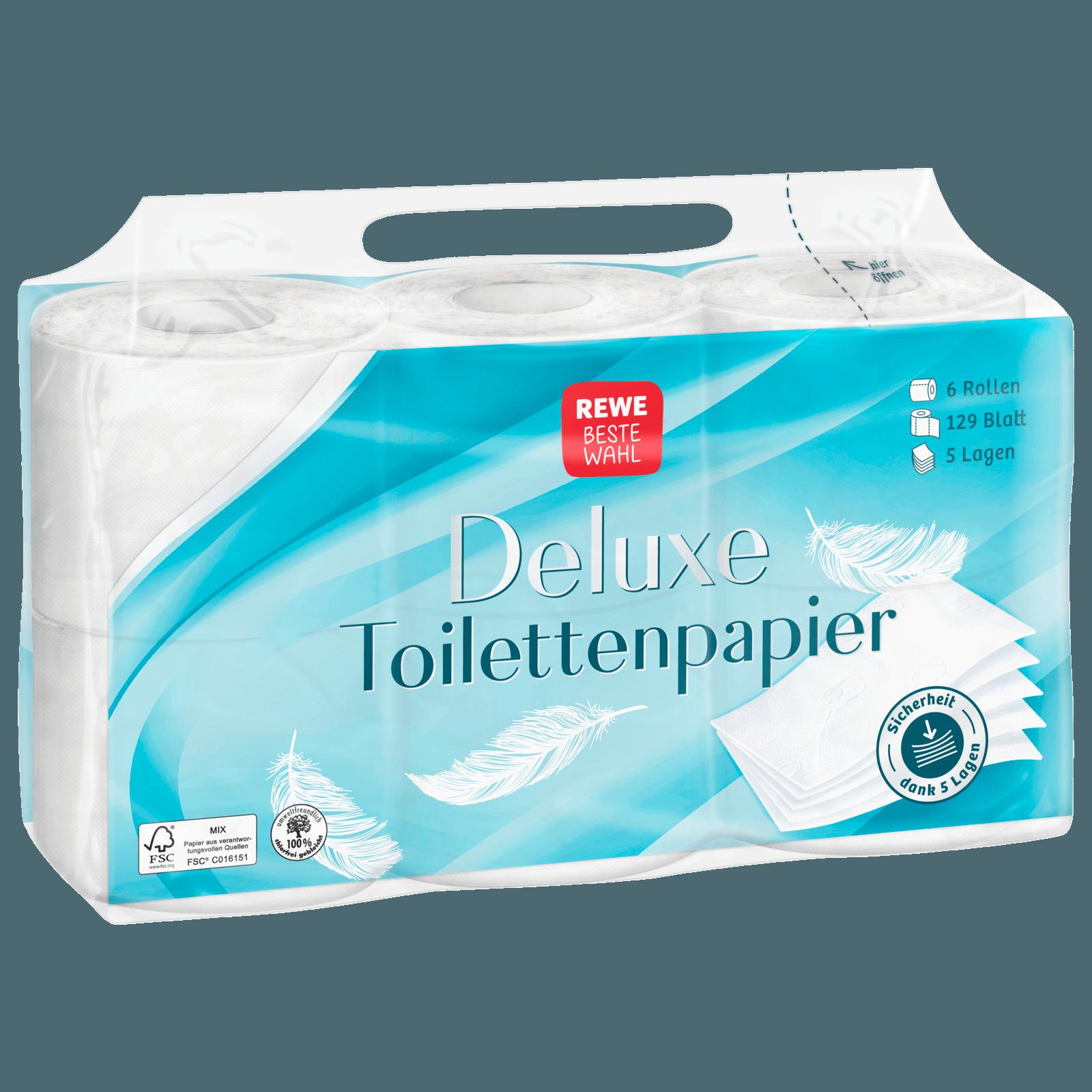 REWE Beste Wahl Deluxe-Toilettenpapier 5-lagig 6x129 Blatt