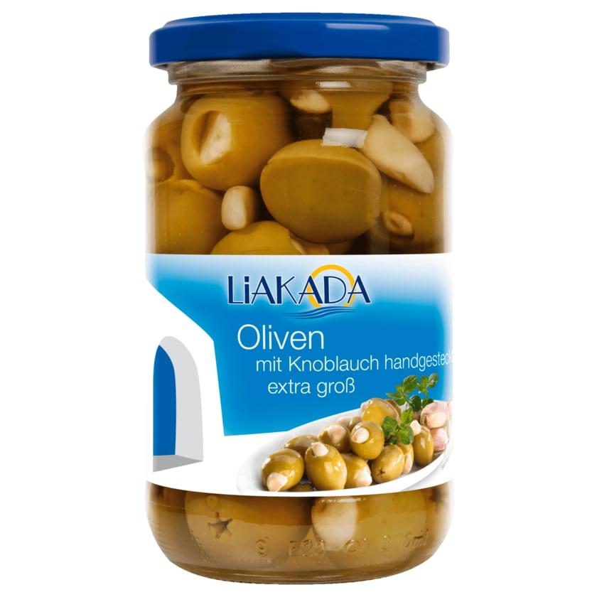 Liakada Grüne Oliven mit Knoblauch 200g