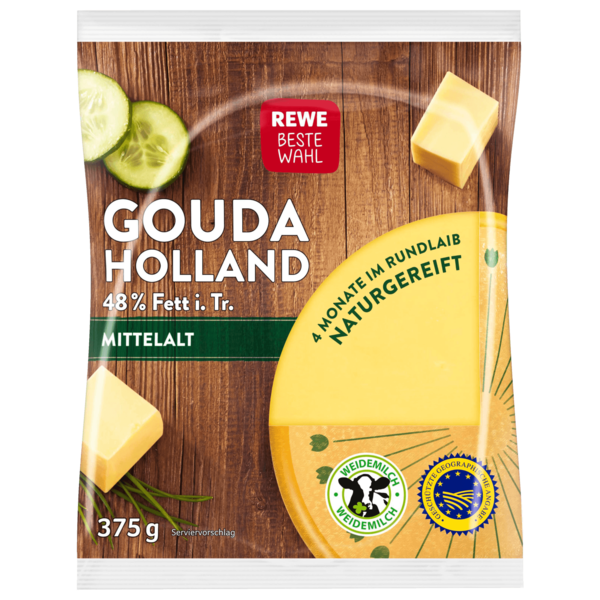 REWE Beste Wahl Gouda Holland mittelalt am Stück 375g
