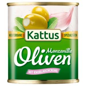 Kattus Spanische Güne Oliven mit Knoblauchcreme 85g
