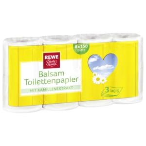 REWE Beste Wahl Balsam-Toilettenpapier Kamille 3-lagig 8x150 Blatt